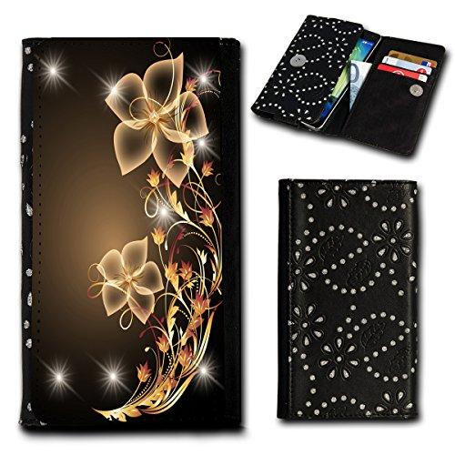 Strass Book Style Flip Handy Tasche Case Schutz Hülle Foto Schale Motiv Etui für Mobistel Cynus T1 / T2 - Flip SU2 Design3