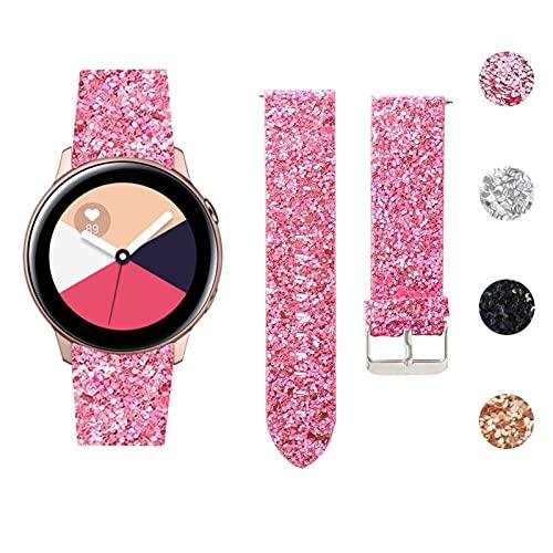 GhrKwiew Galaxy Watch 42mm Bandas, Bling Glitter Correa de Cuero de Repuesto con Hebilla de Metal Pulsera de Pulsera de 20mm para Samsung Galaxy Watch 3 41mm/ Vivoactive 3/ Ticwatch E (P01)