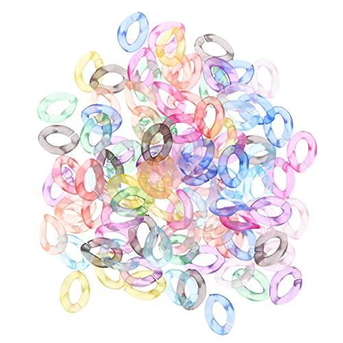 EXCEART 100 Piezas de Plástico Acrílico Transparente Anillos de Enlace Cadena de Enlace de Giro Esmerilado Rápido Conectores de Cadena para Cortina Casera Manija de Bolso Cadenas de