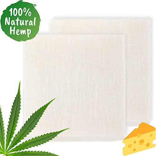ecooe Passiertuch 100% natürliches Hanfmaterial 50 * 50cm Reißfeste Filter Cloth für Nussmilch Käseherstellung Saft und Suppe (2 Stück)