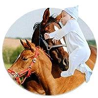 エリアラグ軽量 カップルの馬 フロアマットソフトカーペット直径27.6インチホームリビングダイニングルームベッドルーム