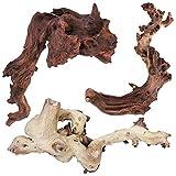 majoywoo Natural Driftwood for Aquarium Decor Fish Tank Decorations, Assorted Driftwood Branch 6-10' 3 Pcs, Reptile Decor