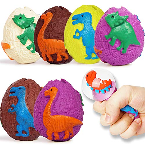BEESTECH Dinosaur Squishy Balls Toys Squeeze Dinosaur Eggs Toys Cool Novelty Toys Easter Eggs Basket Fidget Toys Dinosaur Party Favors for Kids Boys and Girls Years