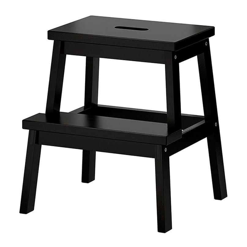 病者マディソン増強LICCC 子供のはしごスツール、小さな正方形の木製ベンチ滑り止め丈夫な変更靴スツール家庭用多機能ガーデンキッチンツールトレッドフットスツール、39 * 25 * 50 cm (Color : Black)