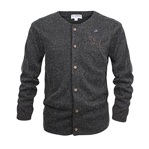 By Johanna Trachtenjacke mit Knöpfen Herren | Trachten Sweater in grau Melliert | Trachten Strickjacke mit Stickerei Langarm 46