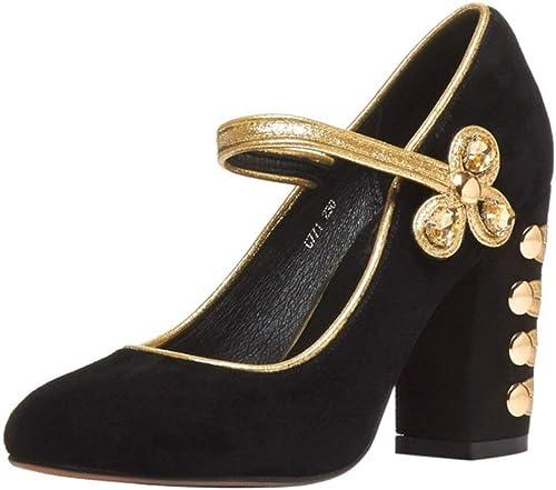 Qiusa Chaussures à la Mode pour Femmes avec Bride à la Cheville à Bout fermé et Talon compensé avec Pompes à Talon