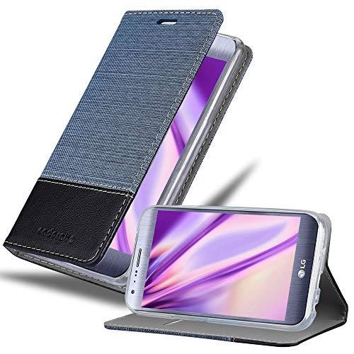Cadorabo Hülle für LG X CAM - Hülle in DUNKEL BLAU SCHWARZ – Handyhülle mit Standfunktion & Kartenfach im Stoff Design - Hülle Cover Schutzhülle Etui Tasche Book