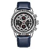 Relojes De Pulsera,Reloj Multifuncional con Cronógrafo De Cuarzo, Calendario, Personalidad Luminosa, Reloj para Hombre, Azul Plateado