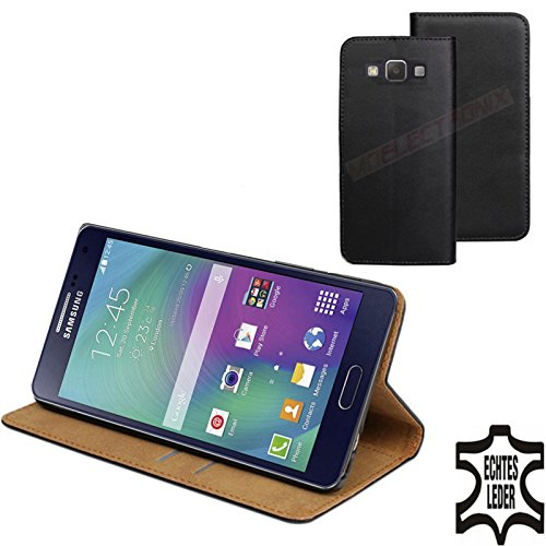 MOELECTRONIX ECHT Leder Buch Klapp Tasche Schutz Hülle Flip Case Etui passend für Samsung Galaxy A5 SM-A500FU