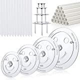 Plastic Cake Dowel Rods Set - 20 Pieces White Plastic Cake Sticks Support Rods with 4 Pieces Cake Separator Plates for 4, 6, 8, 10 Inch Cakes and 12 Pieces Clear Cake Stacking Dowels for Tiered Cakes