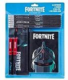 Fortnite Set Papeleria para Niños, Incluye Estuche Escolar Cuaderno A6 Lapices y Boligrafos, Material Escolar de Calidad, Regalos Cumpleaños Niños Colegio (Black Knight)
