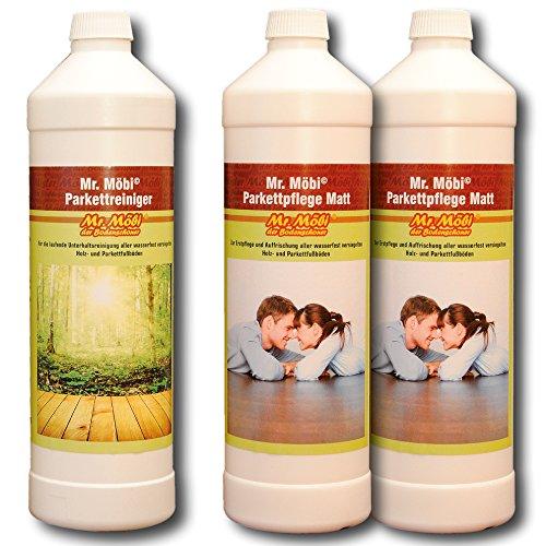 Mr.Möbi® Parkett Pflege-Set Matt: 2 x 1Ltr. Pflegemittel und 1 x 1Ltr. Reiniger - Vergleichen und Sparen Sie gegenüber dem Einzelpreis !