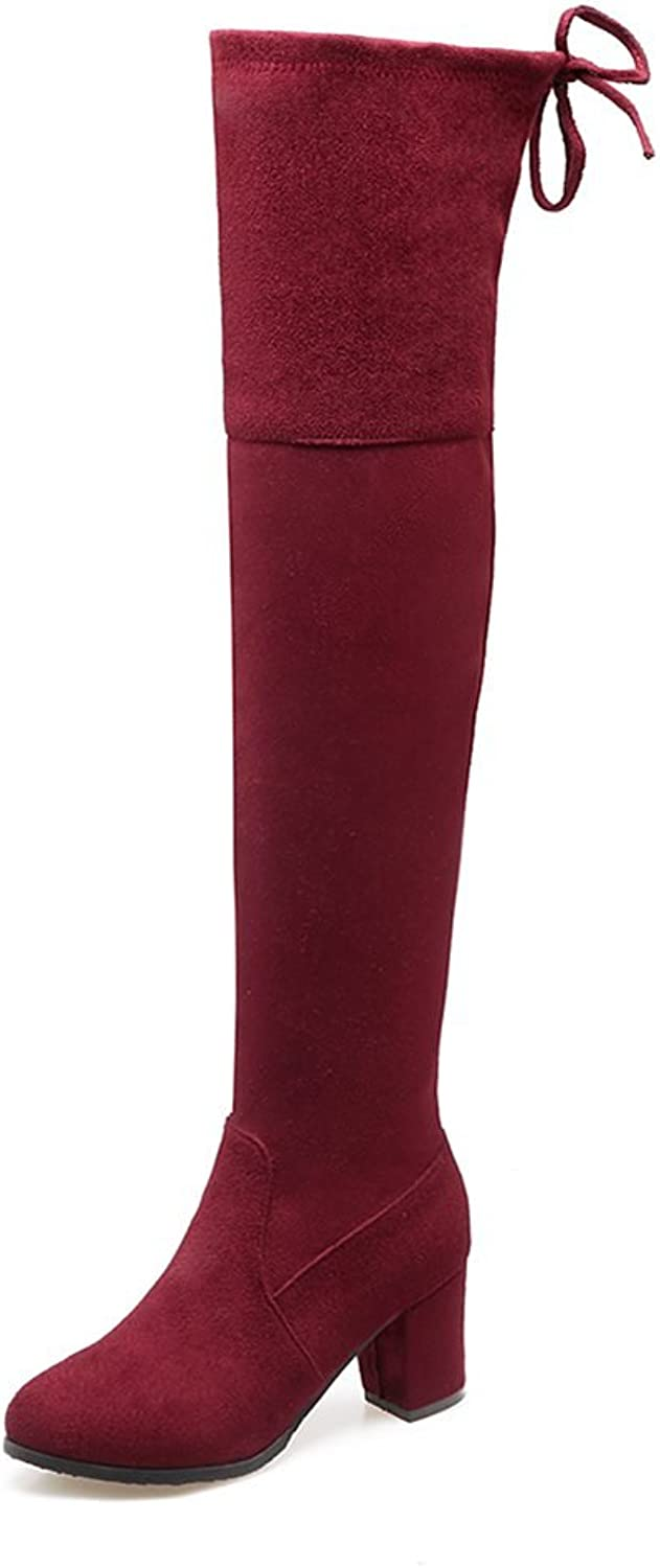 DecoStain Women's Faux Suede Square High Heel Over The Knee Boots