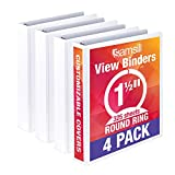 Samsill Economy 3 Ring View Binder Organizer, 1.5 Inch Round Ring Binder, Customizable Clear View Cover, White Bulk Binder 4 Pack (MP48557)