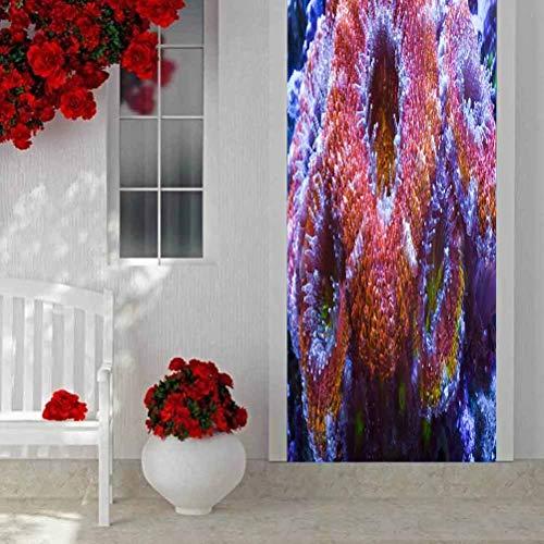 """3D Door Sticker Door Wrap Wall Sticker Mural Wallpaper, Australian Acan Coral, PVC Self Adhesive Removable Home Door Decals 30.3""""x78.7"""""""