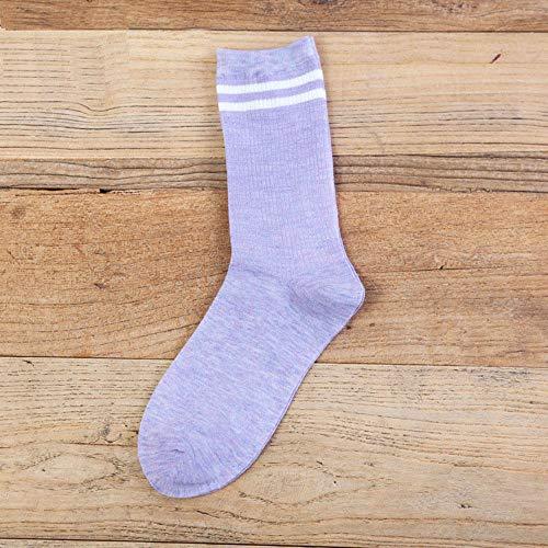 XINDUO Calcetines de Algodón para Mujer Calcetines,Calcetines de Tubo de algodón de Color Suave Puro 20 Piezas-Morado Claro,Calcetines Termicos de Mujer