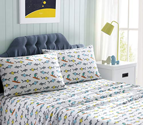Kute Kids Super Soft Sheet Set - Includes Pillowcase(s); Available in Twin, Full & Queen Size (Queen, Sharks)