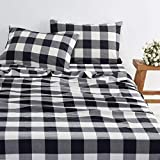 Wake In Cloud - Black Plaid Sheet Set, 100% Washed Cotton Bedding, Buffalo Check Gingham Geometric Checker Pattern in Black Gray Grey White (4pcs, Queen Size)