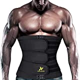 NINGMI Waist Trainer for Men Sweat Belt - Sauna Trimmer Stomach Wrap Band Waste Belly Slimmer Fitness Shaper Girdle Strap Black