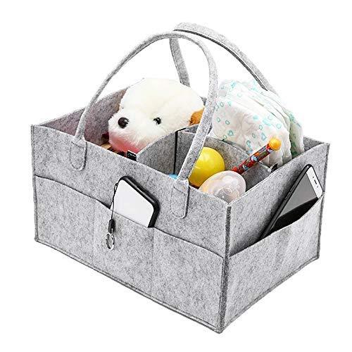 GWFVA Canasta de pañales Portapañales para bebés Fácil de Limpiar Cambiador y automóvil - Bolsa de pañales Gris Registro de recién Nacidos Must Haves