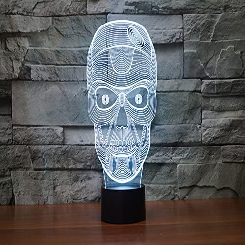 Yyhmkb Pared Sensor Decoracion Sensor Luz Habitacion Estanteria Infantil Lámpara De Mesa De La Atmósfera Del Regalo De La Luz Visual Led Del Tacto Colorido De La Luz 3D De La Cabeza Del Cráneo