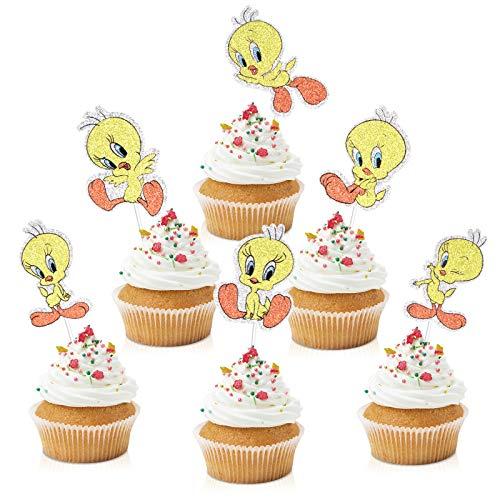 18pcs Cartoon Tweety Birthaday Cupcake Toppers - Baby Shower Looney Tunes Glitter Tweety Bird Cupcake Supplies- Boys Girls Happy Birthday Party Dessert Picks Decorations