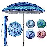 Blissun 7.2' Portable Beach Umbrella with Sand Anchor, Tilt Pole, Carry Bag, Air Vent (Blue)