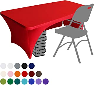 Eurmax Spandex Table Cover 6 ft. Fitted 30+ Colors Polyester Tablecloth Stretch Spandex Table Cover-Table Toppers,6 FT Table Cover Open Back(Red)