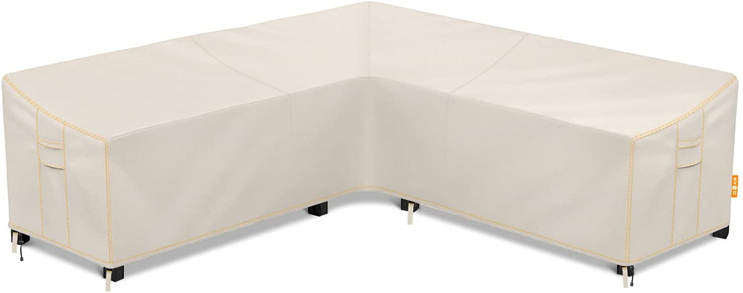 Patio Sectional Sofa Cover, Waterproof Outdoor V-Shaped Sectional Cover,Heavy Duty Garden Furniture Cover with 600 D,Air Vent ,UV Resistant,100