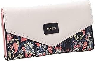 Pusaman Idyllic Small Floral Chromatic Envelope Purse, Long Wallet Handbag Clutch Bags (Color : Black, Size : 19 * 9.5 * 3CM)