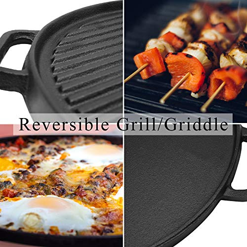 Cast Iron Reversible Grill/Griddle,12-Inch Double Handled Cast Iron Stovetop Grill/Griddle