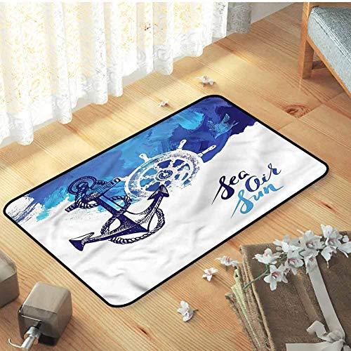 Elinna Bar Mat, for Room Home Bedroom Sofa Mat Catches Dirt Dust Snow & Mud, Nautical Nautical Wheel Ocean - W31 X L47 18x30(IN)