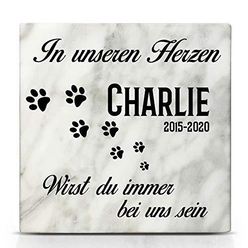 TULLUN Individueller Personalisiert Weißer Natur Marmor Gedenkstein für Hund, Katze und andere Haustiere - Größe 10 x 10 cm - Pfotenabdruck