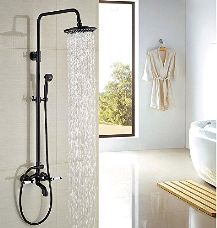 Luxurious shower Moderne l eingerieben Broze Badezimmer Dusche W Hand Dusche Double Handles runden Duschkopf Wasserhahn, dunkles Khaki