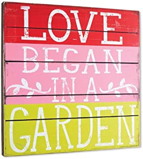 DEMDACO Love Began in a Garden Square Wall Art, 18-Inch