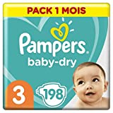 Couches Pampers Taille 3 (6-10 kg) - Baby Dry, 198 couches, Pack 1 Mois /NEW
