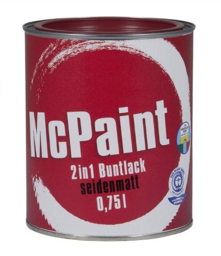 McPaint 2in1 Buntlack Grundierung und Lack in einem für Innen und Außen. PU verstärkt - speziell für Möbel und Kinderspielzeug seidenmatt Farbton: RAL 3004 Purpurrot 0,75 Liter - Bastellack
