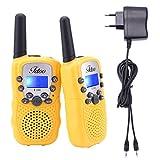 Fetoo Walkie Talkies für Kinder PMR 446 mit Akkus und Ladekabel 0,5W 8 Kanäle VOX Taschenlampe Funkgeräte (2er-Set) (Gelb)