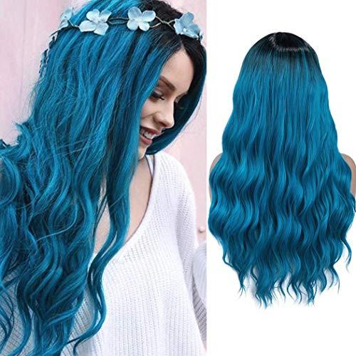 Perücke Blau Ombre Lang Lockige Gewellte Perücken mit dunklen Wurzeln Synthetische Haarperücken für Frauen Cosplay Halloween Party 27,5