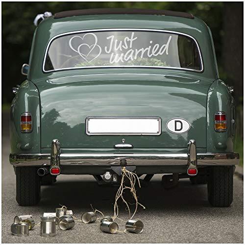 Aufkleber Folie Just Married für Hochzeitsauto Autoaufkleber Heck Wandaufkleber Wandtattoo Hochzeit Trauung Heiraten Sticker Selbstklebend Dekoration (Silber, KX055 Just Married 1)