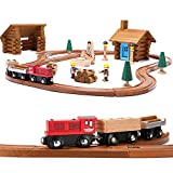 SainSmart Jr. Toddler Wooden Train Set with Log Cabin Building Blocks - 100 PCS Real Wood Logs - Lumber Mill - Buildable Train Tracks Construction Toy for 3,4,5 Year Old Boys and Girls