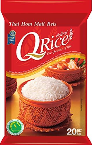 Q RICE Jasminreis – 100% duftender Langkorn Reis – Thai Hom Mali - 1 x 20 kg