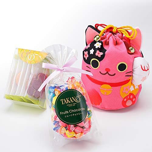 新宿高野 招き猫巾着袋E ピンク 洋菓子 ギフト スイーツ セット (フルーツチョコ /果実サブレ)