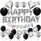 Ohighing Birthday Decoration Men Women Silver Black Happy Birthday Balloons Banner Party Decorations