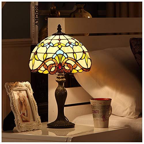 CJW Lampe de chevet européenne créative - Chambre à coucher pour enfant rétro lampe de table Tiffany Baroque 25cm