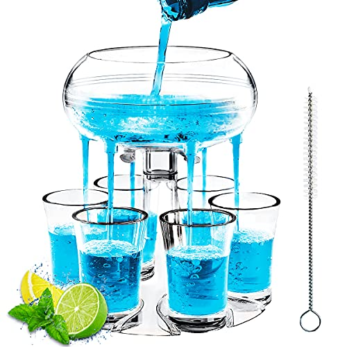 Cordial Shot Dispenser, MOKOQI Acrylic Shot Glasses Set of 6 Party Drinking Game for College,...