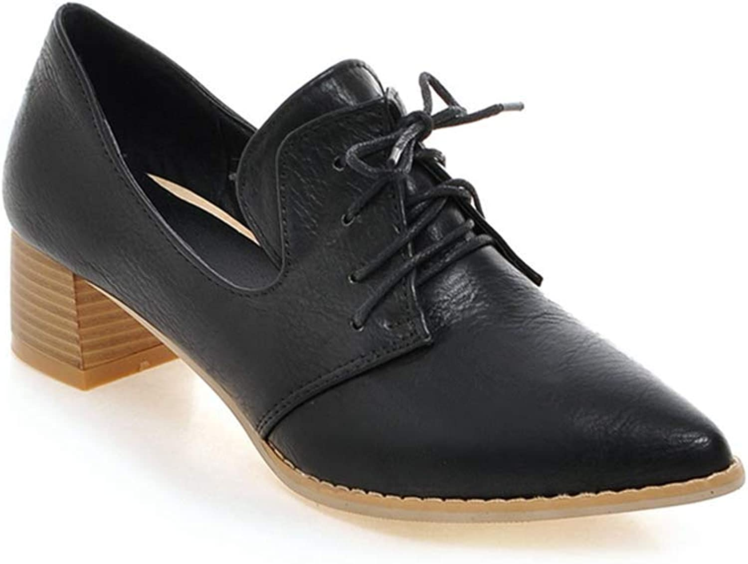 Elsa Wilcox Women Wingtip Lace Up Chunky Block Mid Heel Vintage Dress Oxfords shoes Pointed Toe Oxford Pump