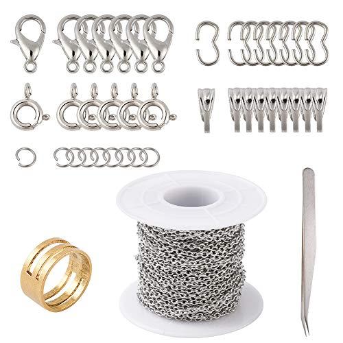 Beadthoven - Cadena de acero inoxidable con eslabones cruzados de 32,8 pies con 140 conectores de eslabones de cierre, cierre a presión, anillos de salto para reparación de joyas