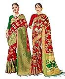 Paquete de 2 sari para mujer Banarasi Art Silk Woven Gift Sari | Sari de boda india con blusa sin costura