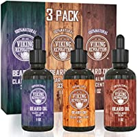 3 Pack Viking Revolution Beard Oil Conditioner Gift Set